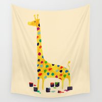 number Wall Tapestries featuring Paint by number giraffe by Picomodi