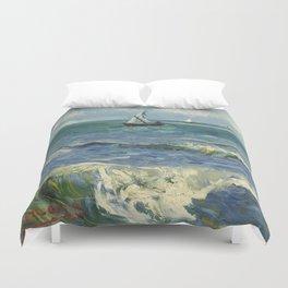 The Sea at Les Saintes-Maries-de-la-Mer by Vincent van Gogh Duvet Cover
