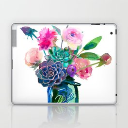 Watercolor flowers in mason jar Laptop & iPad Skin
