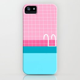 Cute illustration of a blue pool with ladder and pink tile floor iPhone Case