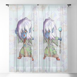 angry chibi elf sorcerer for dnd and fantasy fans Sheer Curtain