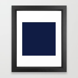 Navy Blue Minimalist Solid Color Block Spring Summer Framed Art Print