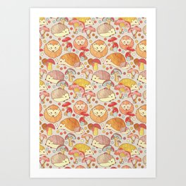 Woodland Hedgehogs - a pattern in soft neutrals  Kunstdrucke