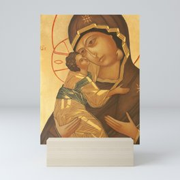Orthodox Icon of Virgin Mary and Baby Jesus Mini Art Print