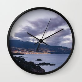 Volcanic coastline and lights of Santa Cruz at twilight. La Palma, Canary Islands. Wall Clock