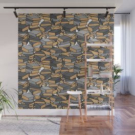Book Collection in Grey Wall Mural