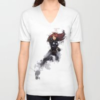 black widow V-neck T-shirts featuring Black Widow by Isaak_Rodriguez