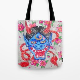 Hannya Blue Devil Tote Bag