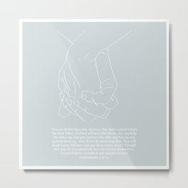Ecclesiastes 4:9-12 A Cord of Three Strands Is Not Quickly Broken Line Art Sketch Blue Metal Print