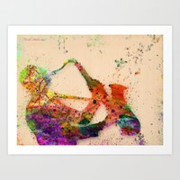 saxophone Art Prints featuring music saxophone by mark ashkenazi