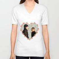 johnlock V-neck T-shirts featuring Hearted Johnlock by thescudders