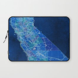 California, blue old vintage map, original art for office decor Laptop Sleeve