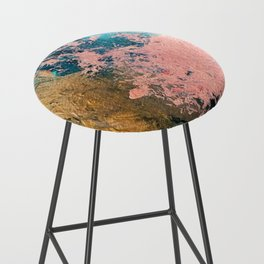 Coral Reef [1]: colorful abstract in blue, teal, gold, and pink Bar Stool
