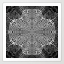 Modern Black and White Curvy Swirled Stripes Art Print