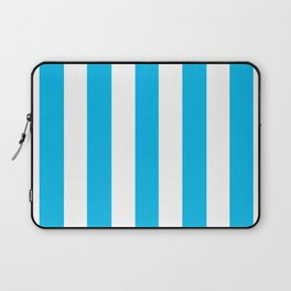 Cyan (process) azure - solid color - white vertical lines pattern Laptop Sleeve