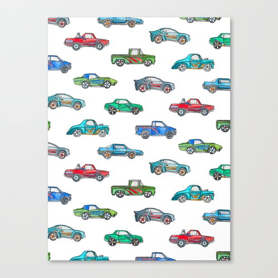 Little Toy Cars in Watercolor on White Canvas Print