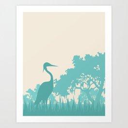 Crane in the Swamp Art Print
