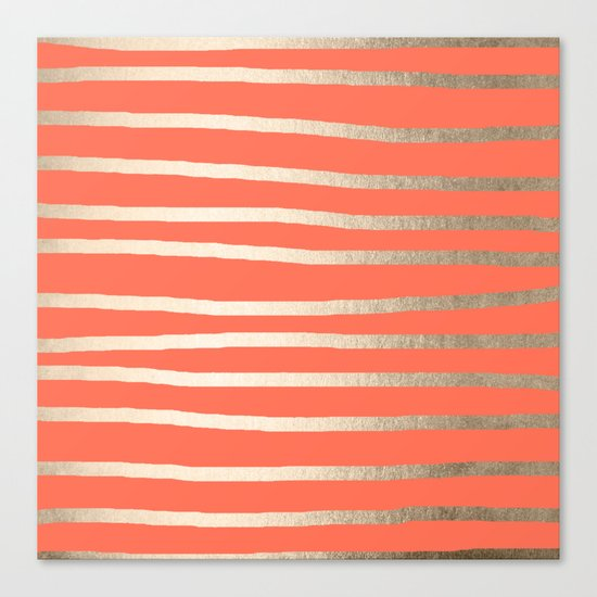Simply Drawn Stripes in White Gold Sands on Deep Coral Canvas Print