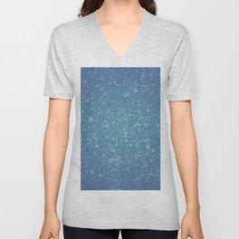Hand painted blue white watercolor brushstrokes confetti Unisex V-Neck