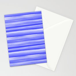 Girly Artsy Ocean Blue Abstract Stripes Stationery Cards