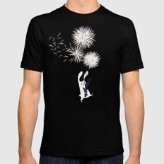 Bunny and Dandelion Bouquet SMALL Black Mens Fitted Tee
