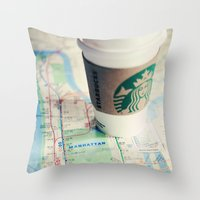 starbucks Throw Pillows featuring Manhattan and Starbucks by Kim Fearheiley Photography