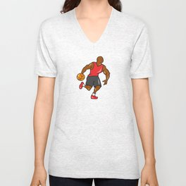 Basketball Player Dribbling Ball Cartoon Unisex V-Neck