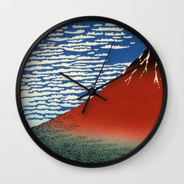 """Hokusai (1760–1849) """"Fuji, Mountains in clear Weather (South Wind, Clear Sky)(Red Fuji)"""" Wall Clock"""