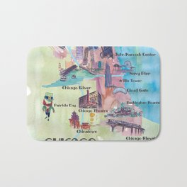 Chicago Favorite Map with touristic Top Ten Highlights in Colorful Retro Style Bath Mat