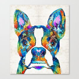 Colorful Boston Terrier Dog Pop Art - Sharon Cummings Canvas Print
