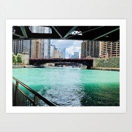 Chicago River under the bridges Art Print