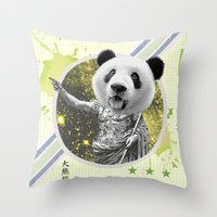 gladiator Throw Pillows featuring Gladiator Panda by Ginger Pigg Art & Design