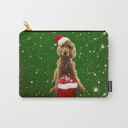 Christmas Dog Golden Doodle Carry-All Pouch
