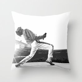 Freddie of Queen at Wembley 1986 Illustration Throw Pillow