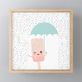 pink ice cream, ice lolly holding an umbrella. Kawaii with pink cheeks and winking eyes Framed Mini Art Print