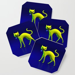 The Yellow Cat And Glass Blue Cherry Coaster
