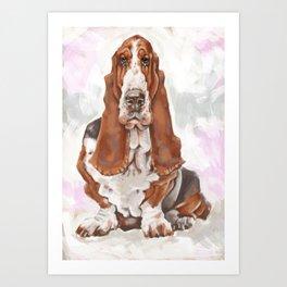 Caricature portrait of a basset hound Art Print