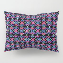 Chain Rubber Stamp Pattern Design (Black Background) Pillow Sham