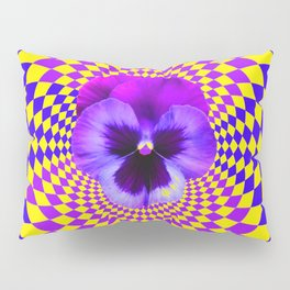 OPTICAL LILAC PURPLE PANSIES YELLOW  GEOMETRIC ART Pillow Sham