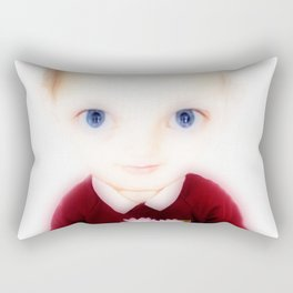 Big Eye Boy with Flowers Rectangular Pillow