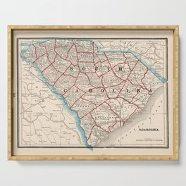 Vintage Map of South Carolina (1893) Serving Tray
