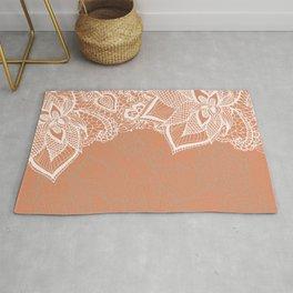 Modern hand drawn floral lace color copper tan roast illustration pattern Rug