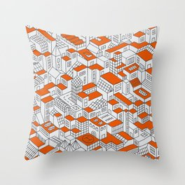 City Grid Day Print Throw Pillow