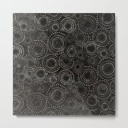 Black and White Circles Watercolor Pattern Metal Print