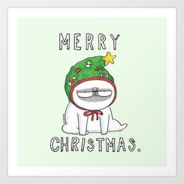 Grumpy Christmas puggy Art Print