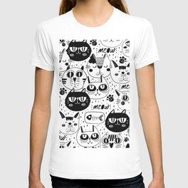 MONOCHROME CAT FACES PATTERN T-shirt
