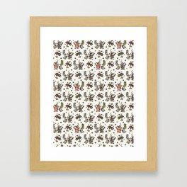 Cute Trendy Gardening Nature Flowers Watering Can Framed Art Print