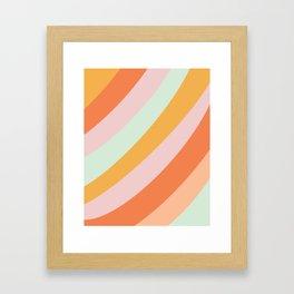 Summer Sorbet Pastel Curved Stripes Framed Art Print