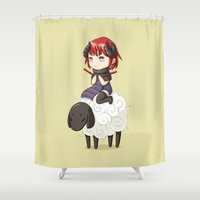 knitting Shower Curtains featuring Knitting Adventure by Freeminds