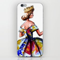 Queen Ball Gown Haute Couture Fashion Illustration iPhone & iPod Skin